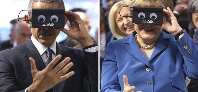 Qué tal Obama y Merkel jugando con gafas de realidad virtual (Fotos)