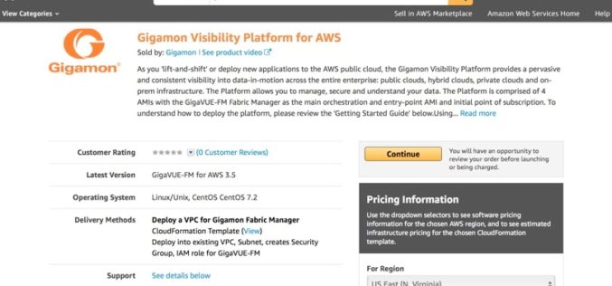 Amazon Web Services (AWS) pone a disposición la plataforma de visibilidad de Gigamon en su marketplace
