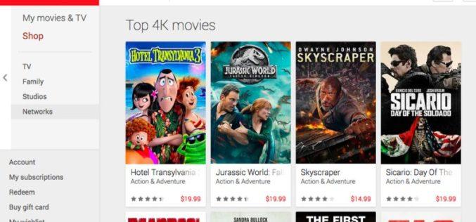 Google con ofertas de alquiler de películas para el Día de Acción de Gracias
